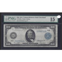 1914 Blue Seal $50 FEDERAL RESERVE NOTE $50 F15 PMG