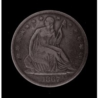1867-S LIBERTY SEATED HALF DOLLAR 50c VF20