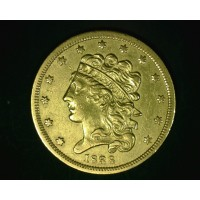 1838 CLASSIC HEAD $5 GOLD $5 AU50