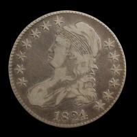 1824/1 CAPPED BUST HALF DOLLAR 50c F18