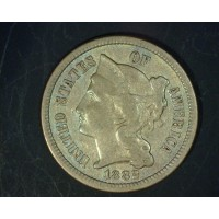 1882 NICKEL THREE CENT PIECE 3c EF45