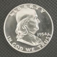 1954 FRANKLIN HALF DOLLAR 50c PF65 White