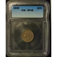 1885 NICKEL THREE CENT PIECE 3c EF45 ICG