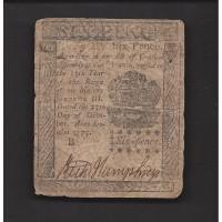 10/25/1775 PENNSYLVANIA 6p VG8