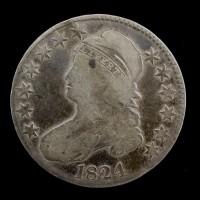 1824 CAPPED BUST HALF DOLLAR 50c F12