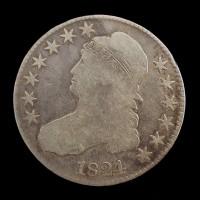1824/1 CAPPED BUST HALF DOLLAR 50c VG8