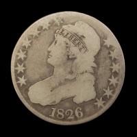 1826 CAPPED BUST HALF DOLLAR 50c VG8