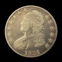 1834 LD LL CAPPED BUST HALF DOLLAR 50c VF30