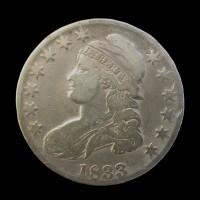 1833 CAPPED BUST HALF DOLLAR 50c VF20
