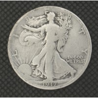 1917-S Rev WALKING LIBERTY HALF DOLLAR 50c VG10