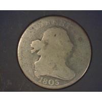 1803 DRAPED BUST HALF CENT 1/2c AG3