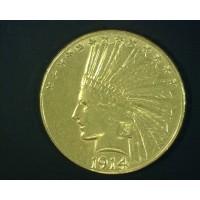 1914-S INDIAN $10 GOLD $10 AU58