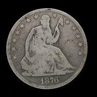 1876-CC LIBERTY SEATED HALF DOLLAR 50c G4