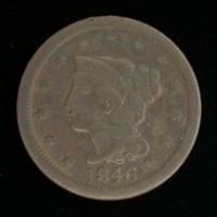 1846 TD LIBERTY HEAD LARGE CENT 1c VF20