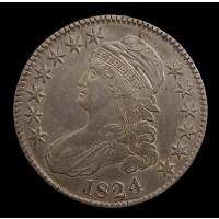 1824 CAPPED BUST HALF DOLLAR 50c AU50