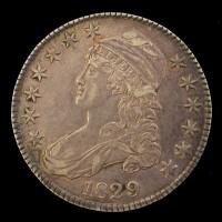 1829 CAPPED BUST HALF DOLLAR 50c AU50
