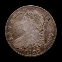 1829/7 CAPPED BUST HALF DOLLAR 50c EF40