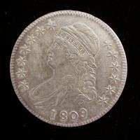 1809 IIII Edge CAPPED BUST HALF DOLLAR 50c AU50