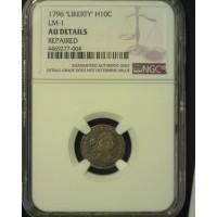 1796 LIKERTY DRAPED BUST HALF DIME 5c (Half Dime) AU50 Details NGC