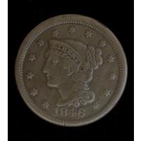 1846 SD LIBERTY HEAD LARGE CENT 1c VF35
