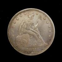 1871 LIBERTY SEATED DOLLAR $1 EF45