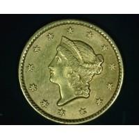 1849 Closed LIBERTY GOLD DOLLAR TY'1 $1 AU58