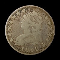 1818 CAPPED BUST QUARTER DOLLAR 25c VG10