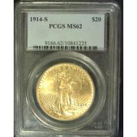 1914-S ST  GAUDENS $20 GOLD $20 MS62 PCGS