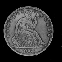 1864 LIBERTY SEATED HALF DOLLAR 50c MS63