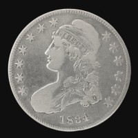 1834 SD SL CAPPED BUST HALF DOLLAR 50c F12