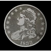 1833 CAPPED BUST HALF DOLLAR 50c F18