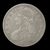 1834 SD SL CAPPED BUST HALF DOLLAR 50c VF30