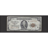 1929 $100 FEDERAL RESERVE BANK NOTE $100 VG8