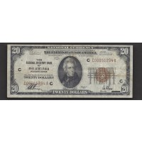 1929 $20 FEDERAL RESERVE BANK NOTE $20 VG10