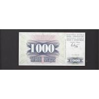 BOSNIA-HERZEGOVINA, 1992 1000 Dinara GEM CU P15a