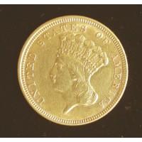 1854 INDIAN $3 00 GOLD $3 AU55