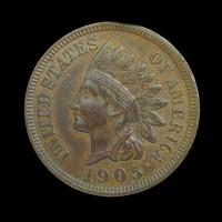 1905 INDIAN CENT 1c MS62 Brn