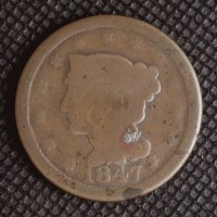 1847 LIBERTY HEAD LARGE CENT 1c G6