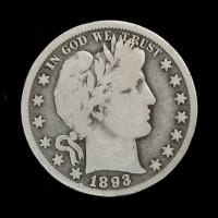 1893-O BARBER HALF DOLLAR 50c VG8