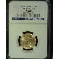 2009 $10 1/4oz GOLD EAGLE $10 MS70 NGC