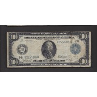 1914 Blue Seal $100 FEDERAL RESERVE NOTE $100 VG8