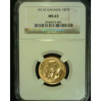CANADA, 1911C 1 Sov MS63 NGC