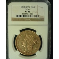 1852/1852 LIBERTY $20 GOLD $20 VF25 NGC
