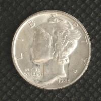 1945 MERCURY DIME 10c MS64