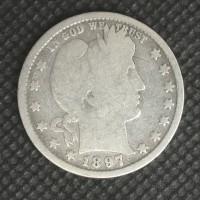 1897 BARBER QUARTER DOLLAR 25c G6