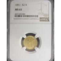 1851 LIBERTY $2 50 GOLD $2.50 MS61 NGC