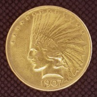 1907 No Periods INDIAN $10 GOLD $10 AU55