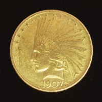 1907 No Periods INDIAN $10 GOLD $10 AU58