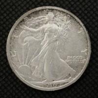 1916-D WALKING LIBERTY HALF DOLLAR 50c AU50