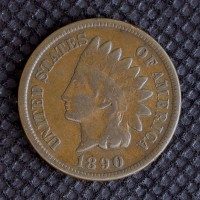 1890 INDIAN CENT 1c VF20